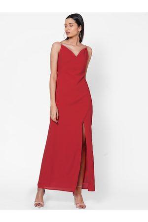 MISH Women Maxi Dresses - Women Red Solid Maxi Dress