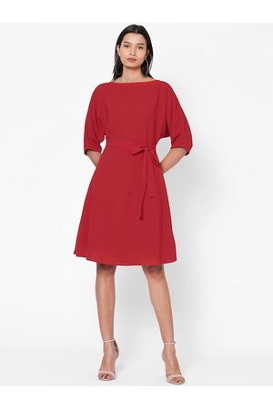 MISH Women Red Solid Fit and Flare Dress