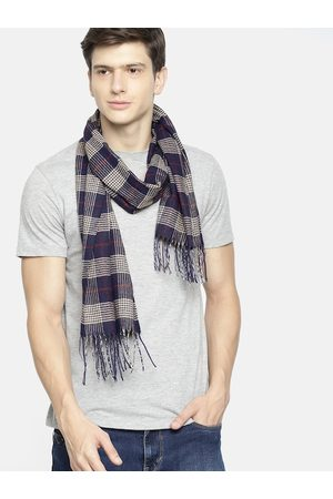 Mast & Harbour Scarves - Unisex Navy Blue & Beige Checked Acrylic Scarf