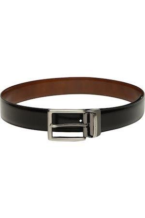 Louis Philippe Men Black & Tan Brown Solid Reversible Leather Belt