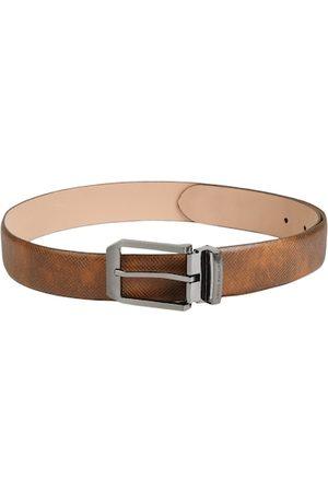 Louis Philippe Men Tan Brown Textured Leather Belt