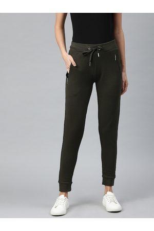 Van Heusen Women Joggers - Women Olive Green Slim Fit Solid Cropped Joggers