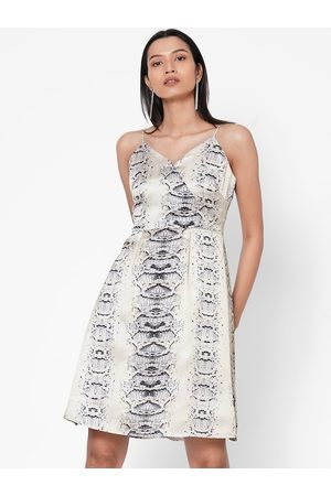 MISH Women Off-White Printed Fit and Flare Dress
