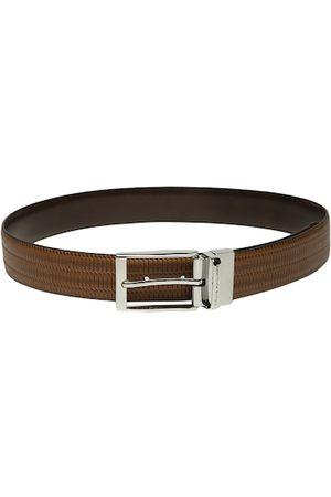 Louis Philippe Men Brown Textured Reversible Leather Belt