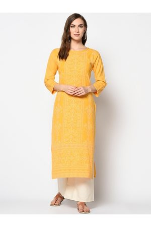 Kvsfab Women Yellow Printed Straight Kurta