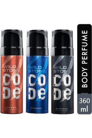 Wild stone Code Copper, Platinum and Titanium Body Perfume Spray for Men 120ml (Pack of 3)