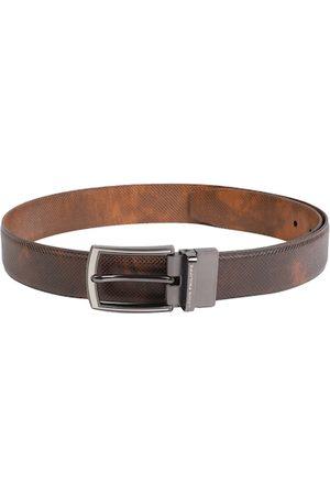 Louis Philippe Men Brown Reversible Textured Leather Belt