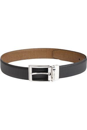 Louis Philippe Men Black & Brown Reversible Textured Leather Belt