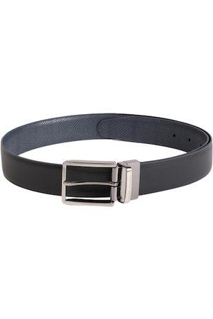Louis Philippe Men Black & Navy Blue Textured Reversible Leather Belt