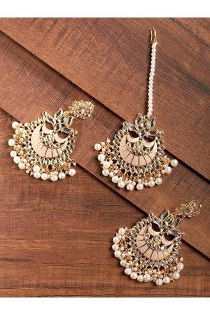 Zaveri Pearls Peach-Coloured Gold-Plated Kundan & Pearl Studded Enamelled Jewellery Set