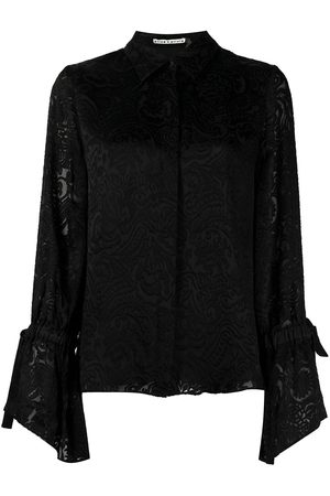 ALICE+OLIVIA Women Shirts - Floral-embroidered long-sleeved blouse