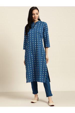 Sangria Women Blue & Golden Printed Kurta with Trousers