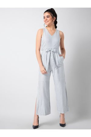 FabAlley Women White & Grey Striped Basic Jumpsuit