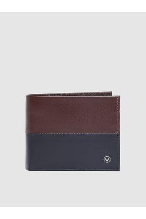 Allen Solly Men Brown & Navy Blue Colourblocked Genuine Leather Two Fold Wallet