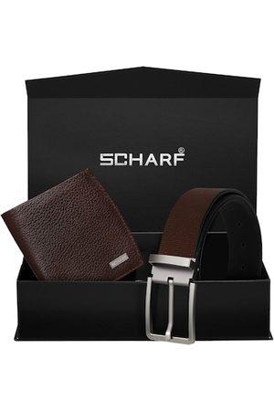 Scharf Men Brown Genuine Leather Formal Belt & Wallet Gift Set