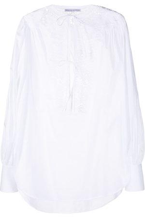 ERMANNO SCERVINO Lace-detail tied-neck blouse
