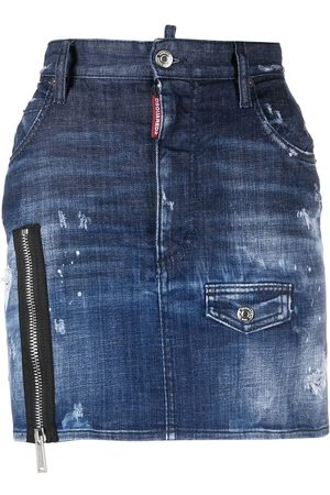 Dsquared2 Zip-detail distressed-effect denim skirt