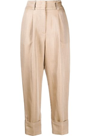 PESERICO SIGN Pleat-front cropped trousers