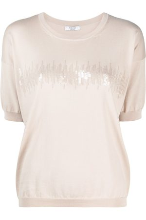 PESERICO SIGN Sequin-embellished knitted T-shirt