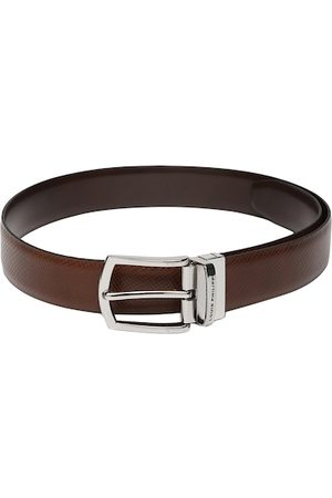 Louis Philippe Men Tan BrownTextured Reversible Leather Belt