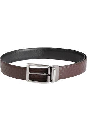 Louis Philippe Men Black & Brown Textured Reversible Leather Belt