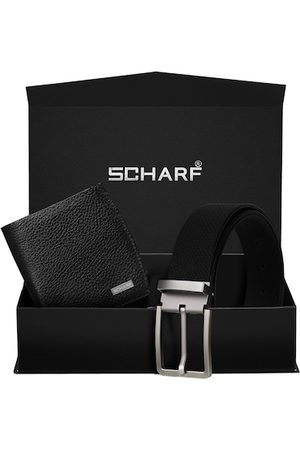 Scharf Men Black RFID Protected Genuine Leather Accessory Gift Set