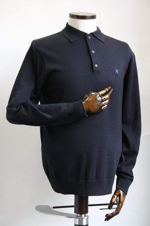 Gabicci Francesco Navy Long-Sleeved Knitted Polo Shirt