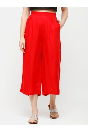 De Moza Women Red Solid Cropped Wide Leg Palazzos