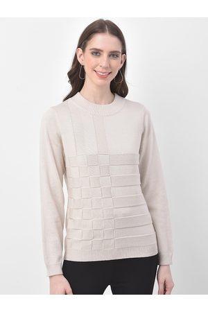 Latin Quarters Women Beige Self-Design Sweater