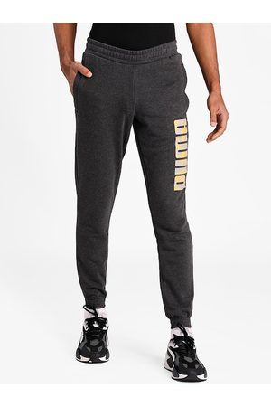 PUMA Men Charcoal Grey Solid Straight-Fit Joggers