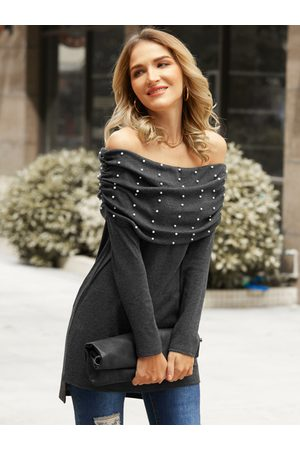 YOINS Women Tops - Beaded Details Off The Shoulder Long Sleeves Knit Top
