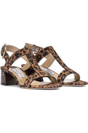 Jimmy Choo Jin 45 leopard-print suede sandals