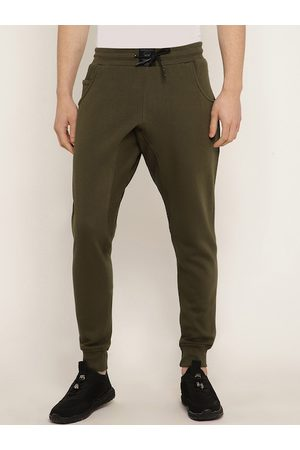 Punk Men Olive Green Solid Slim-Fit Joggers