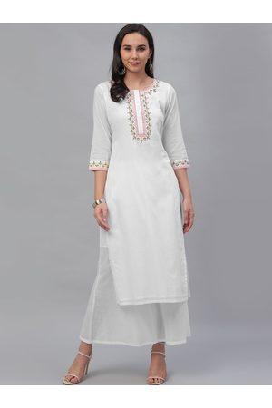 GERUA Women White Yoke Design Kurti with Sharara