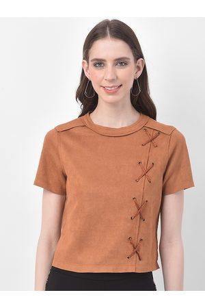 Latin Quarters Women Tan Brown Solid T-Shirt