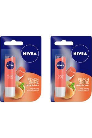 Nivea Set of 2 Peach Shine Caring Lip Balm