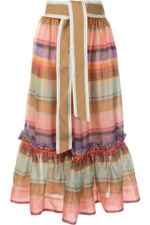 ZIMMERMANN Rainbow stripe full skirt