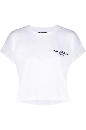 Balmain Logo-embroidered cropped T-shirt