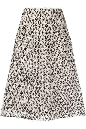 Salvatore Ferragamo Gancini S-print knee-length skirt