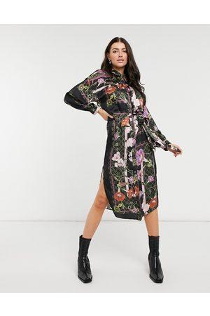 River Island Scarf print mini shirt dress in