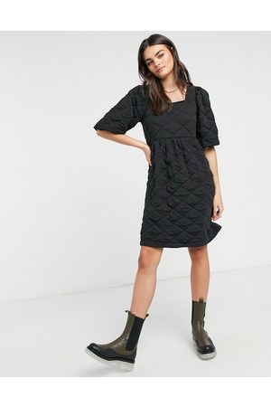 Vero Moda Quilted mini dress with puff sleeve in
