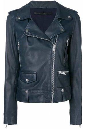 Women Leather Jackets - MDK Seattle Seattle New Thin Leather Jacket - Navy