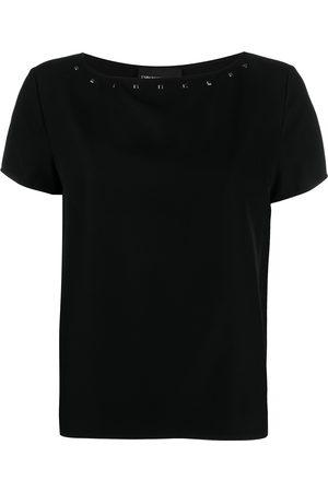 Emporio Armani Women Short Sleeve - Studded boat neck T-shirt