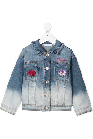 MONNALISA Girls Denim Jackets - Bleached denim jacket with embroidered detail
