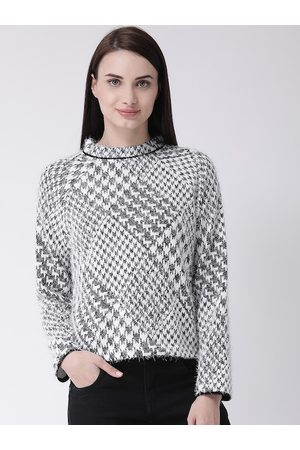 Latin Quarters Women White Self Design Jacquard Knit Winter Top