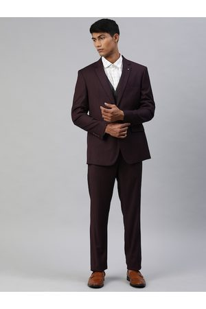 Louis Philippe Men Burgundy Solid Slim Fit Single Breasted 3 Piece Formal Suit