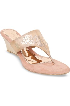 All Things Mochi Women Champagne-Toned Printed Wedges