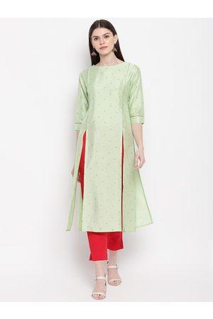 Janasya Women Green Printed A-Line Kurta