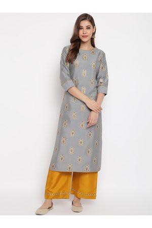 Janasya Women Grey & Yellow Woven Design Kurta with Palazzos