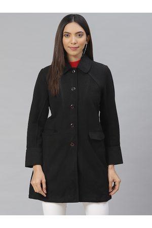 AURELIA Women Black Solid Overcoat